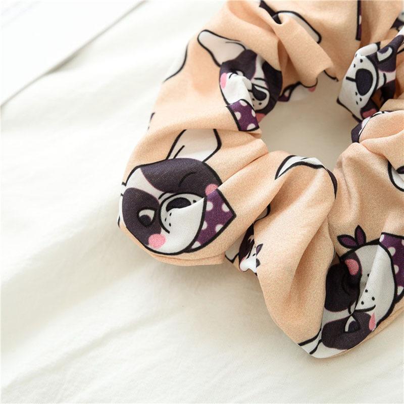 New Cartoon Dog Scrunchies Women Hair Ties Elastic Hair Bands Girls Headwear Cute Ponytail Holder Scrunchy Print