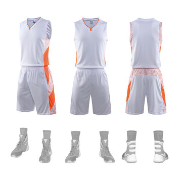 Polyester V-neck basketball uniform with pocket jersey