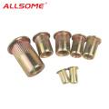 ALLSOME Carbon Steel Rivet Nuts Flat Head Insert Nutsert Threaded Rivetnut M3 M4 M5 M6 M8 M10