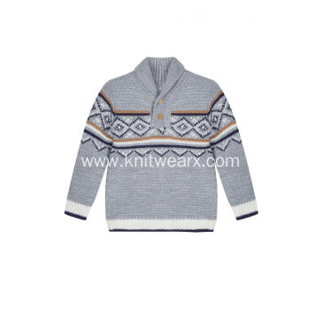 Boy's Knitted Diamond Jacquard Shawl Neck Pullover