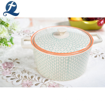 Custom Printed Decorative Round Ceramic Oven Safe Casserole Pot