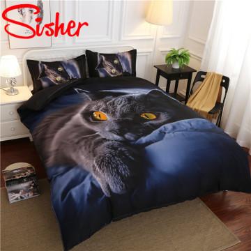 3D Print Cartoon Cat Duvet Cover Set Dark Blue Bedding Set Single King 220x240 Housse Couette Flat Sheet Comforter 4pc Bed Linen