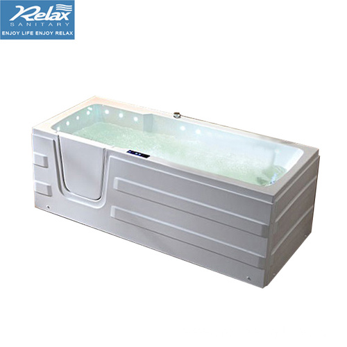 Gloss white walk in tub bathtub for elderly