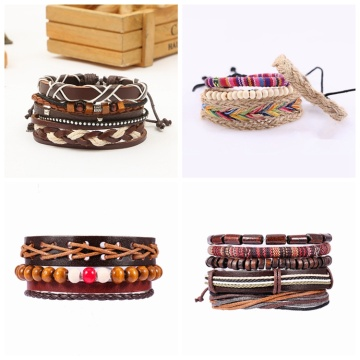 link chain Bangles Woven leather bracelet men's and women's cuff wound wooden bead ethnic tribe Adjustable