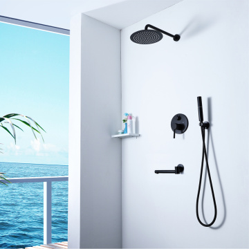 Wall Mounted Bathroom Black Brass Shower Faucet Set