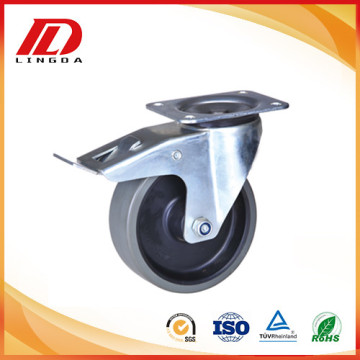 4'' plate caster with gray pu wheel