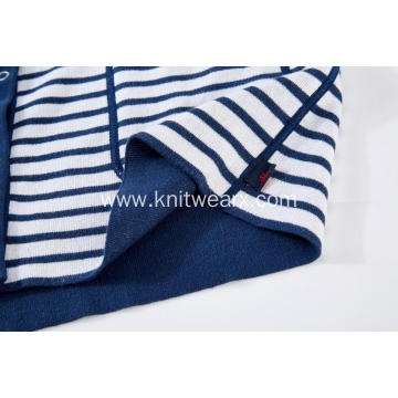 Women's Knitted Striped Button Pocket Crew-Neck Cardigan
