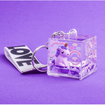Fancy Unicorn Liquid Key Chain