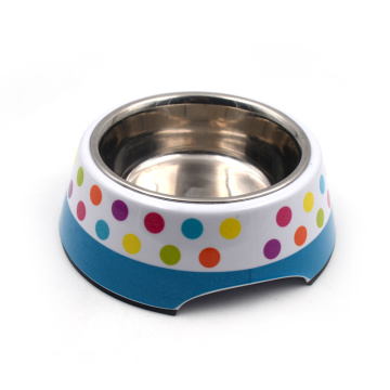 Stainless Steel Pet Bowl with Removable Melamine base
