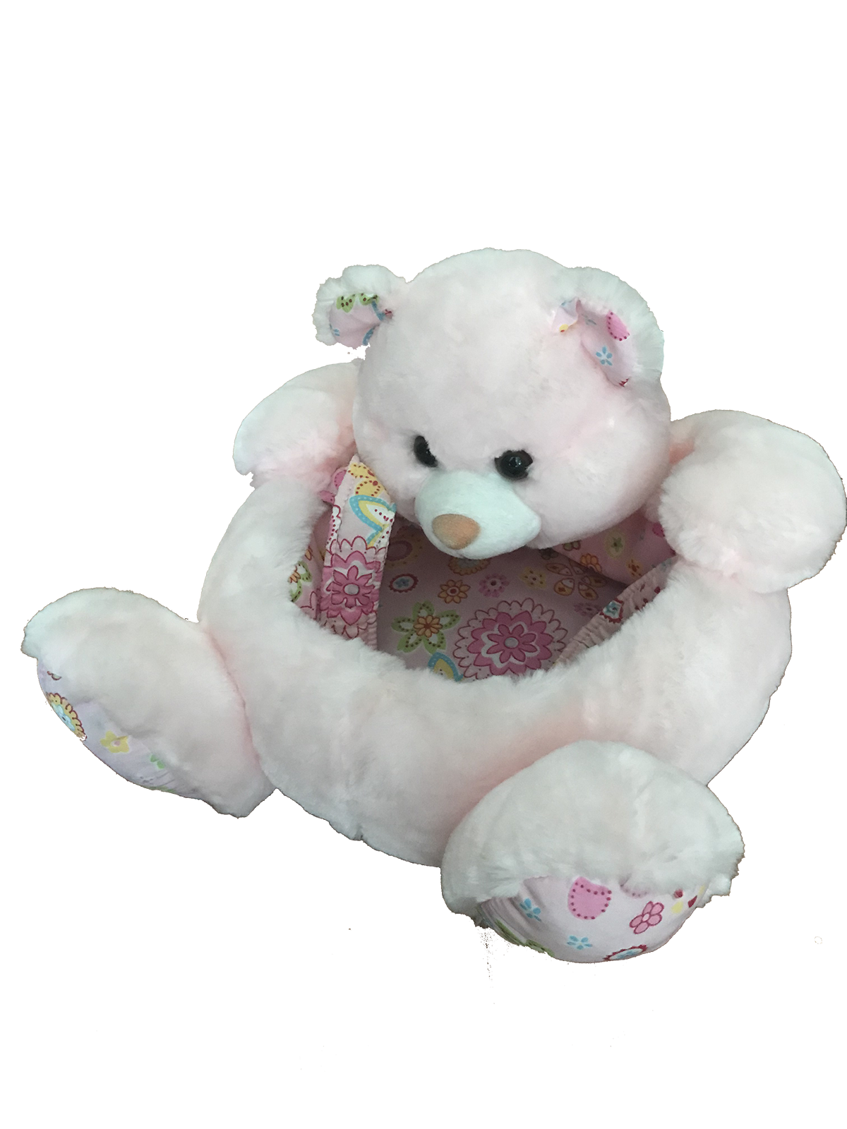Plush Bear Basket In Pink