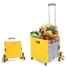 Folding Cart Heavy Duty Crate Handcart With 8 Wheels Portable Tools Carrier For Travel Shopping Moving Luggage Home Storage