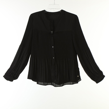 Pleats Solid Long Shirts