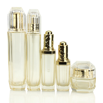 Golden Transparent Octagonal Glass Cosmetic Jars And Bottles