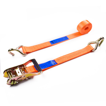 "1.5"" 3T 38mm Plastic Ratchet Buckle Car Tire Belt Tie Down Straps With 1.5 Inch Single J Hooks"