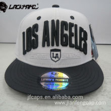 3D embroidery white snapback hiphop flat cap