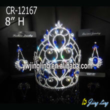 "8"" Blue Crystal Rhinestone Diamond King Crown"