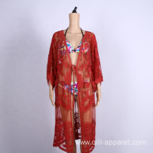 embroidered lace sun protection clothing sexy beach dress