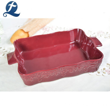 Food Grade Red Kitchen Square Ceramic Baking Pan With Handles