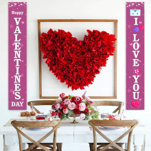 Door Banner Letter Heart Print Couplet Door Curtain Portiere Decorative Flags Cloth for Valentine's Day Festive Atmosphere Decor