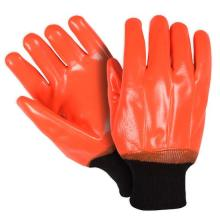 Fluorescent Orange PVC gloves smooth finish knit wrist