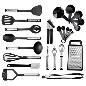 24 nylon cooking cookware set stainless steel