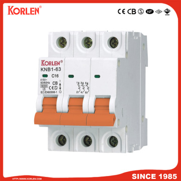 6ka Mini Circuit Breaker with CB KNB1-63 3P