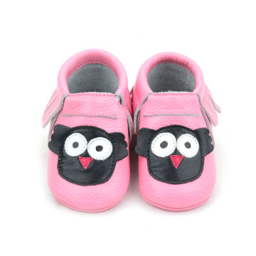 Pink Genuine Cow Leather Attached Baby Pattern Moccasins
