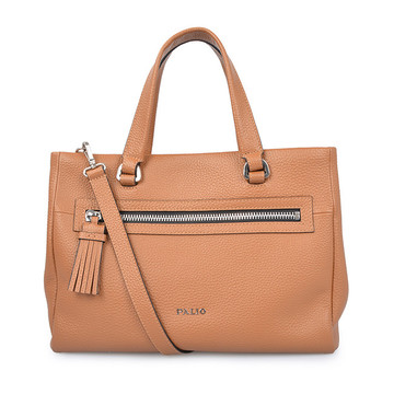 Young Women Leather Handbag Tan Color Shopping Bag