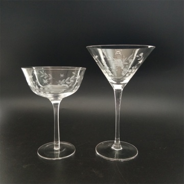 Hand engraved crystal glass cocktail glass
