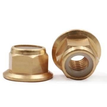 10PCS/lot M2 M2.5 M3 M4 M5 M6 M8 Brass DIN6926 flange nylon insert lock nut not Copper