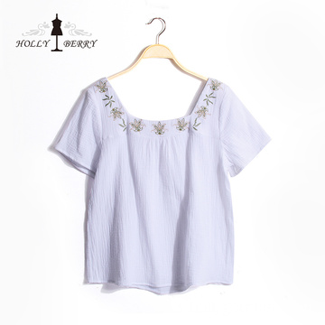 Lightweight Square Collar Summer Woven Fashion Blouse