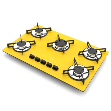 Yellow Stove 5 Burners Gas Cooktop