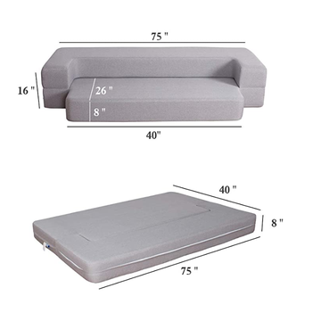 Folding Bed Couch Dark Gray Twin