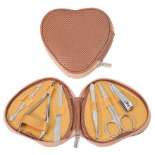 6 Pcs Hot Sale Heart Shape Bag Zipper Manicure Set for Gift