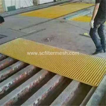 Yellow Fiberglass Grid Flooring Mesh