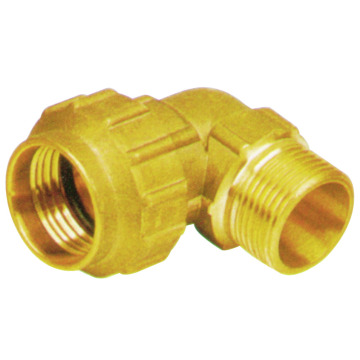 Elbow brass fitting for MDPE pipes