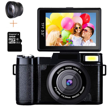 Professional 24MP Video Camera 4X Zoom Rotatable Screen Full HD 1080P Anti-shake SLR Camcorder Photo w/ Wide Lens and 32GB Card