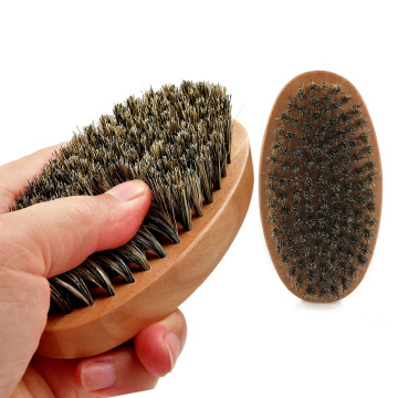 Oval boar bristle beard brush
