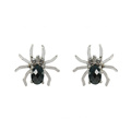 Sterling Silver Black Spider Stud Earrings