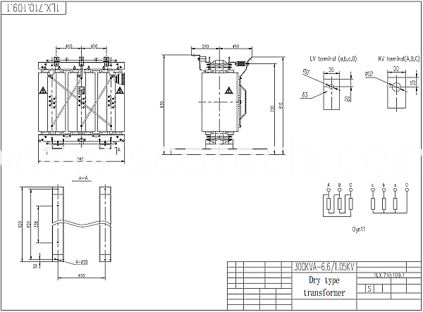 300kva dry type transformer drawing