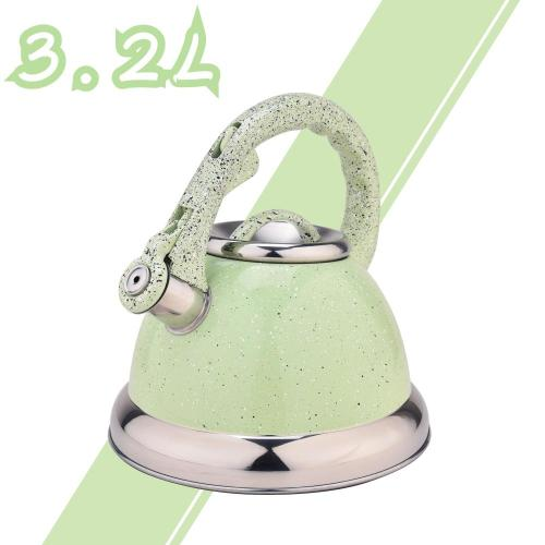 Green Mirror Stainless Steel Whistling Stovetop Teapot