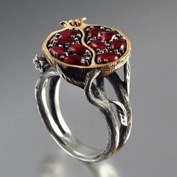 Vintage Fruit Fresh Red Garnet Rings For Women Gifts Resin Stone Pomegranate Jewelry Ancient Anniversary Ring Z5S600