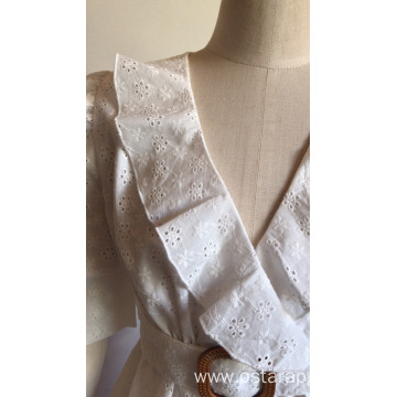 Office Ladies Sweet with Ruffle Cotton Embroidery Blouse