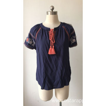 Viscose Short Sleeve Embroidery Blouse for Ladies