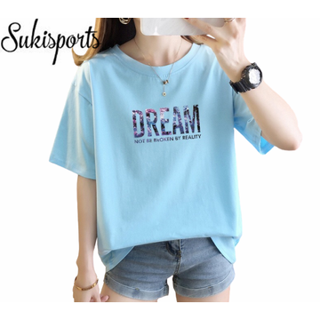 High Quality Women Cute Printed Summer Short-sleeved T-shirts Cotton Ladies Dream Girls