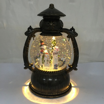 "8""H  Battery Operated Led Lantern Snow Globe"