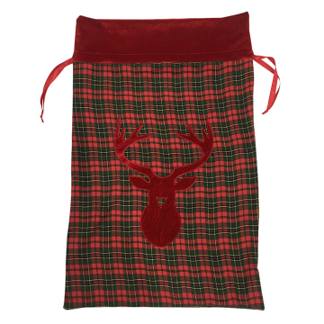 Christma santa sack plaid red deer