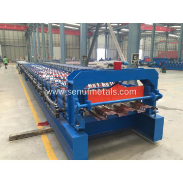 Hydraulic uncoiler+floor decking roll forming machine+auto stacker