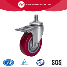 Mini 2.5 Inch 40Kg Threaded Brake TPU Caster