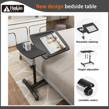 Adjustable Tilt Overbed Bedside Table with Wheels